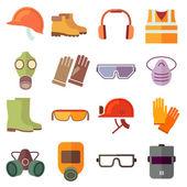 Fotografie Flat job safety equipment vector icons set