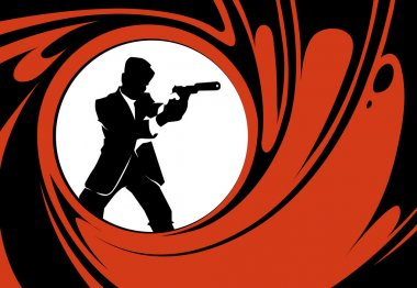 Secret agent or spy vector silhouette