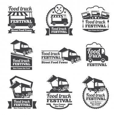 Food truck festival emblems and logos vector set. Festival street food, badge food festival, emblem food truck illustration stock vector