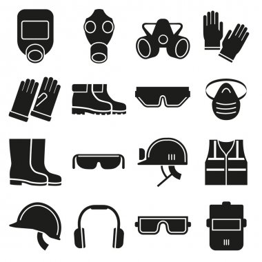 Job safety equipment vector icons set. Safety helmet, equipment for industry job, safety protection mask,  safety glove and glasses illustration stock vector