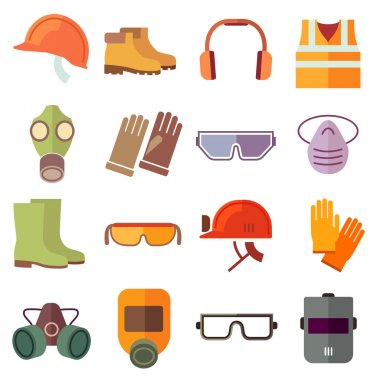 Flat job safety equipment vector icons set. Safety icon, helmet equipment, job industrial, safety headgear and protection boot illustration stock vector