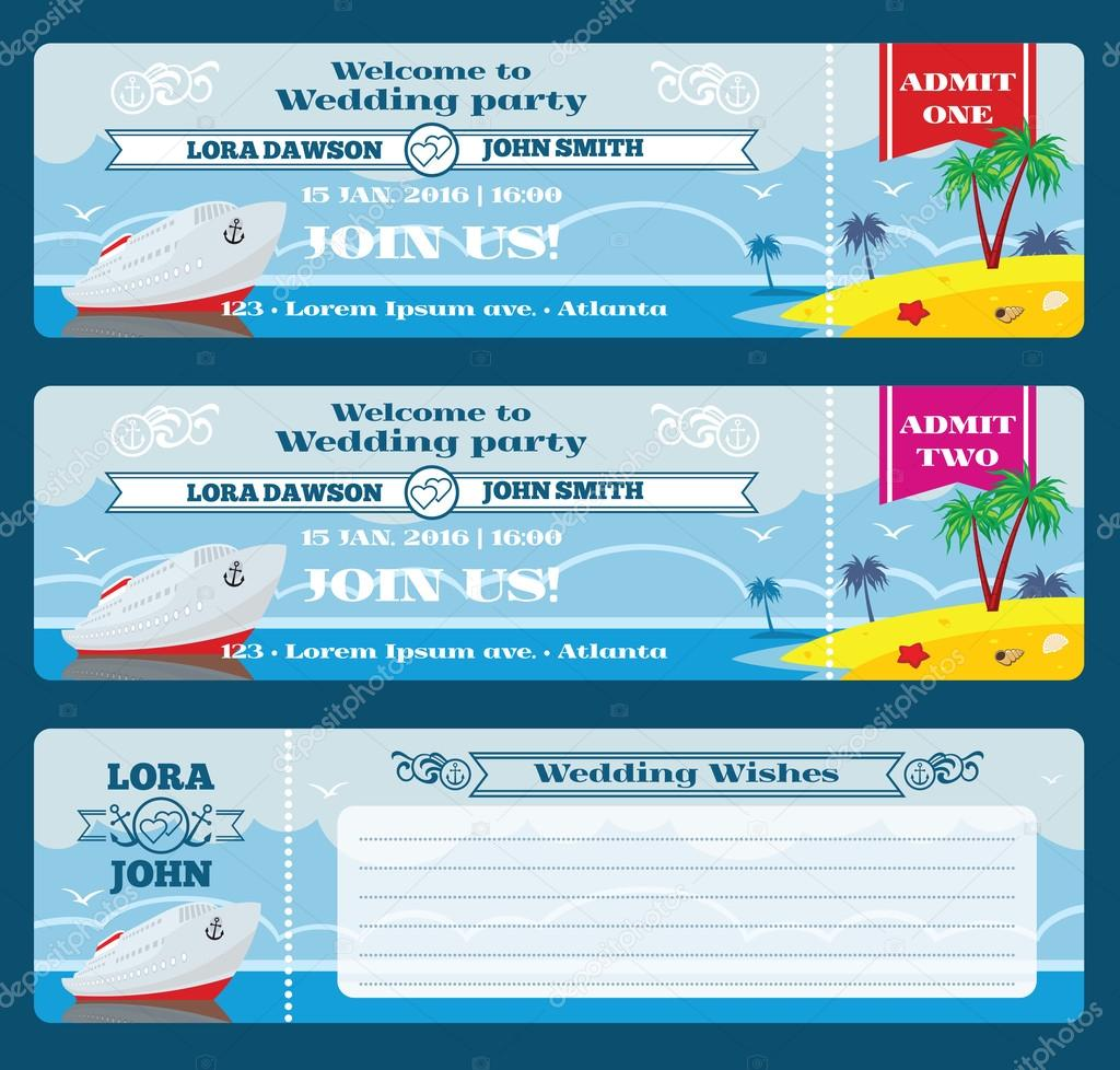 Retro boarding pass ticket. Wedding invitation template — Stock ...