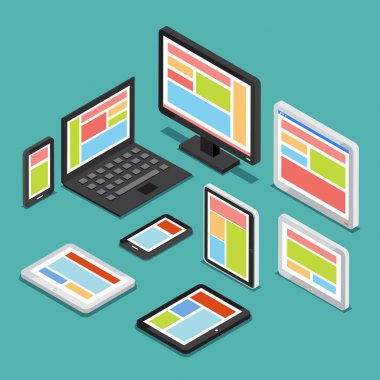 Isometric 3D responsive web design concept with different screens and electronic devices