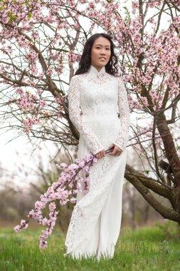Vietnamese girl in Ao Dai - almond blossoms