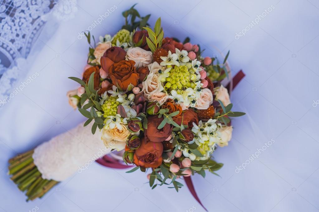 Beautiful wedding bouquet on the white