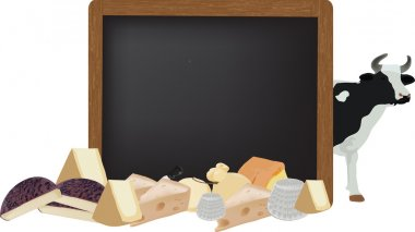 blackboard with dairy cattle