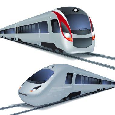High speed trains, isolatetd on white background.