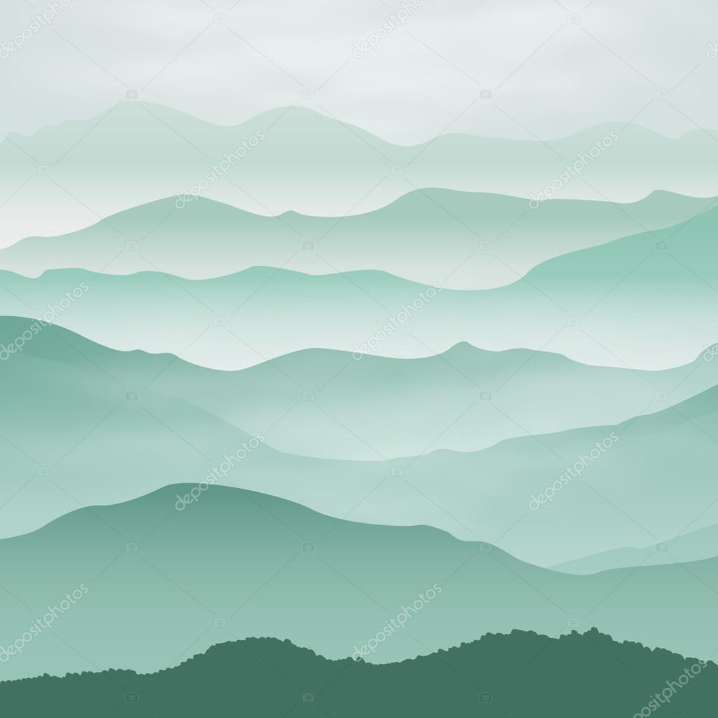 Mountains in the fog. Background.
