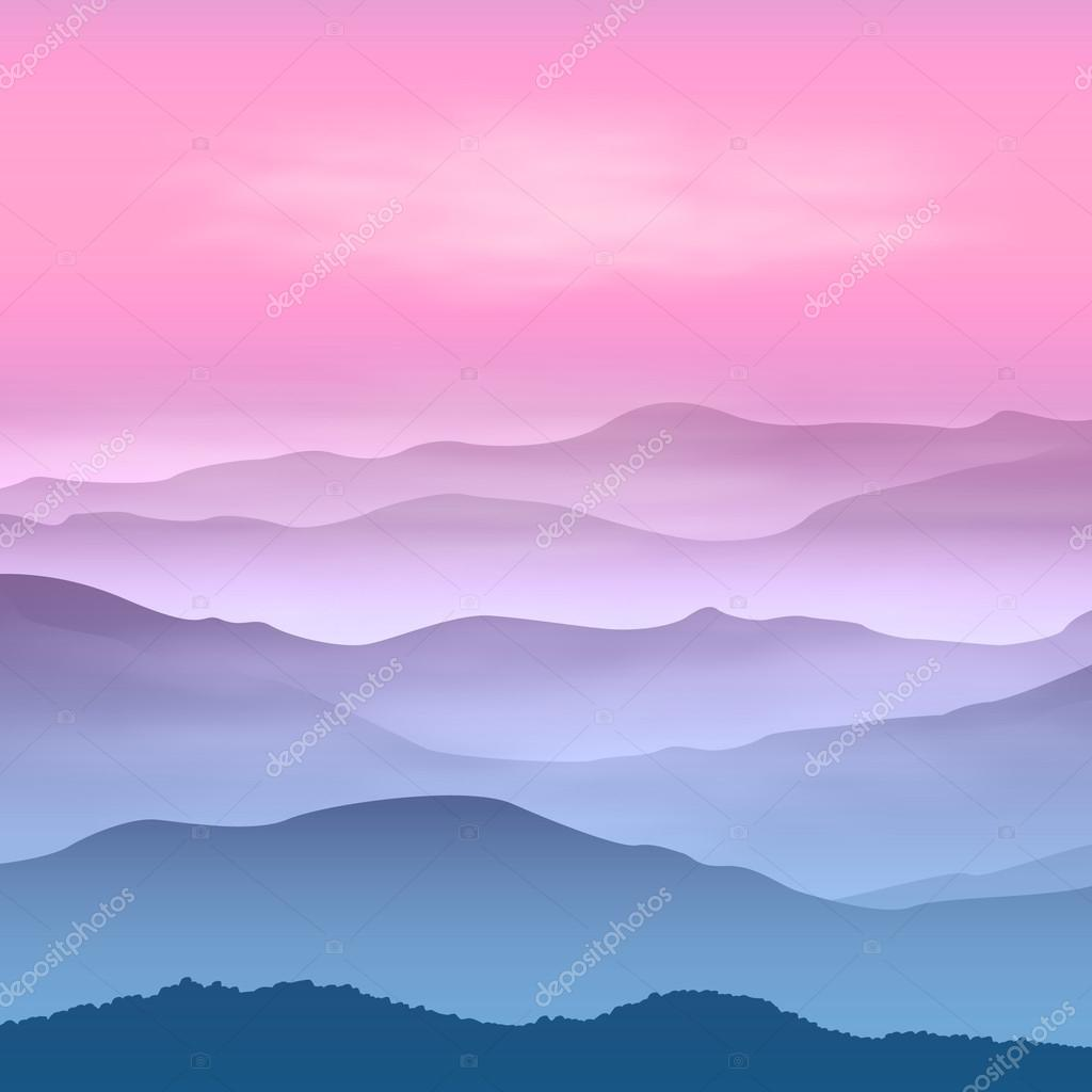 Background with mountains in the fog. Sunset time.