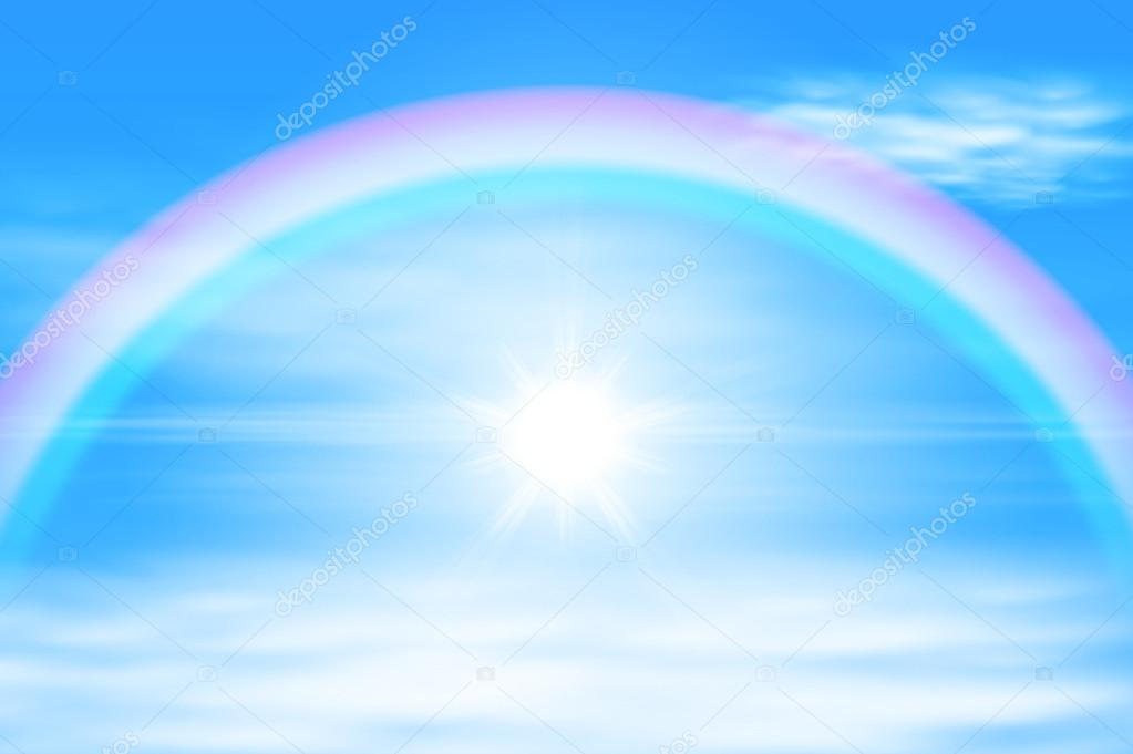 Sun in a the sky with rainbow