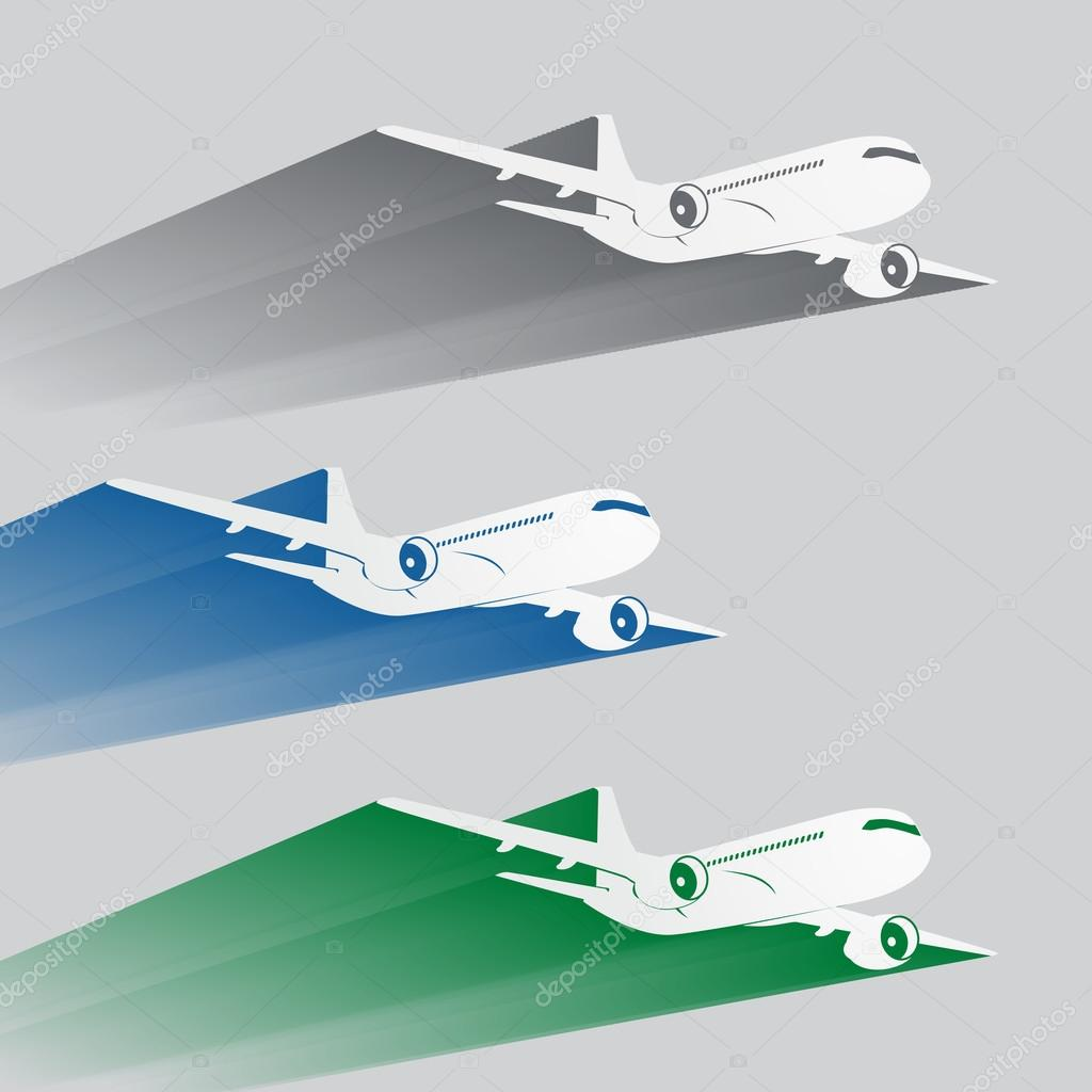 siluetas del avión con el rastro de color — Vector de stock ...