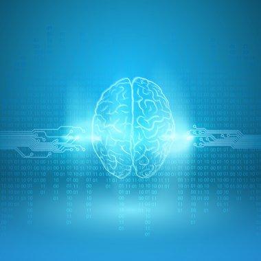 Digital brain on blue background