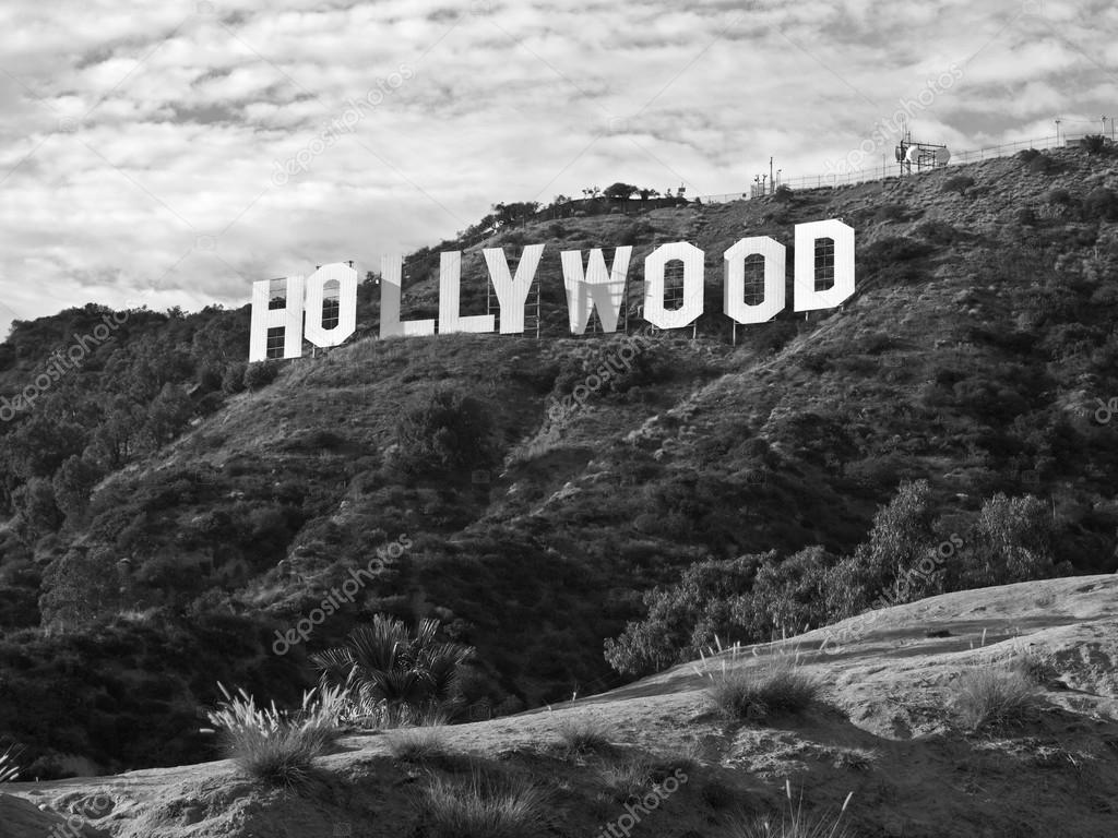 Hollywood Sign Black And White Stock Photo