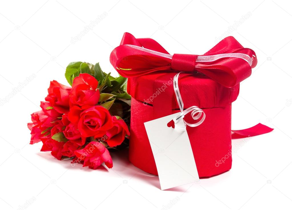 Valentine Gift Box And Red Roses Bouquet Isolated On A White Ba