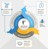 Šipka kruh infografiky šablona