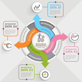 4 šipky kruh infografiky šablonu kroku. Vektorové ilustrace