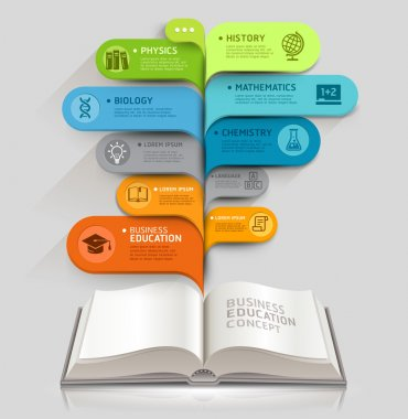 Education icons and Open books with bubble speech template.