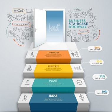Business staircase doorway conceptual infographics.