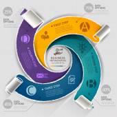 Moderní infografiky šablona roztrhaný papír styl. Vektorové ilustrace. lze použít pro uspořádání pracovního postupu, schéma, možnosti číslování, posílení možnosti, banner, web design, šablona časová osa