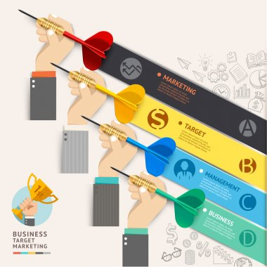 Business target marketing concept. Businessman hand with dart and doodles icons. Vector illustration. Can be used for workflow layout, banner, diagram, web design, infographic template, timeline.