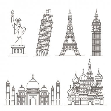 Landmark icons. Statue of Liberty, Tower of Pisa, Eiffel tower, Big ben, Taj mahal, Saint basil's cathedral.