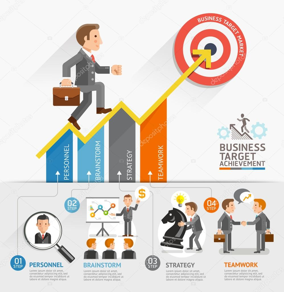 Business Growth Arrow Strategies Concept. Businessman ...