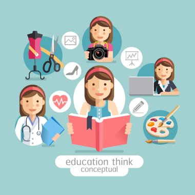Education thinking conceptual. Girl holding books. Vector illustrations. clip art vector