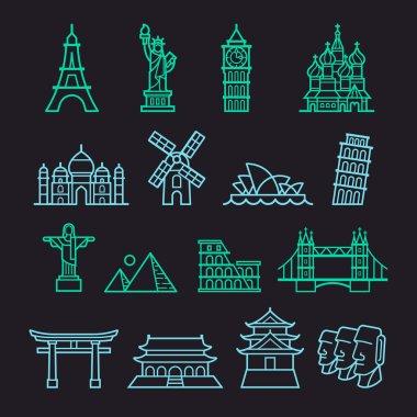 Landmark Icons. Statue of Liberty, Tower of Pisa, Eiffel Tower, Big Ben, Taj Mahal, Saint Basil's Cathedral, Christ The Redeemer, Windmill, Sydney Opera House, Piramid, Colosseum, London Bridge, Fushimi Inari Shrine, Forbidden City, Osaka Castle, Moa