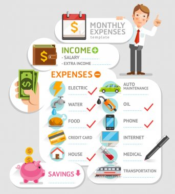 Monthly expenses template. Vector illustration.
