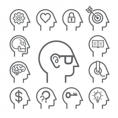 Head line icons set. Vector illustration.