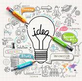 Žárovka myšlenky konceptu čmáranice ikony nastavit. Vektorové ilustrace