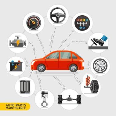 Auto parts maintenance icons. Vector illustration.