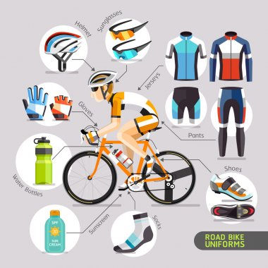 Road Bike Uniforms. Vector illustration.