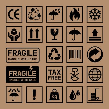 Carton Cardboard Box Icons.