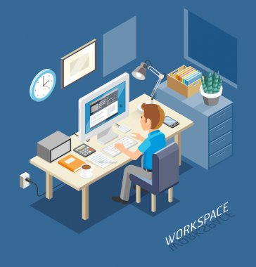 Work Space Isometric Flat Style. Business People Working On An Office Desk. Vector Illustration.