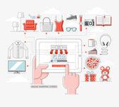 Fényképek Online bevásárlás raktározott készletek koncepció. Vektoros illusztráció