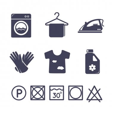 Laundry icons set clip art vector