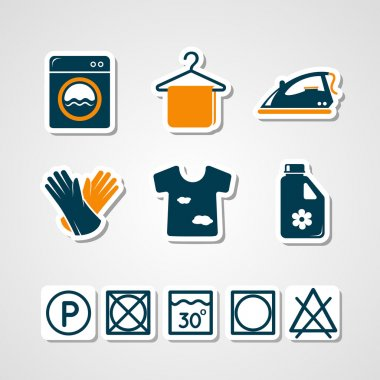 Laundry paper cut icons