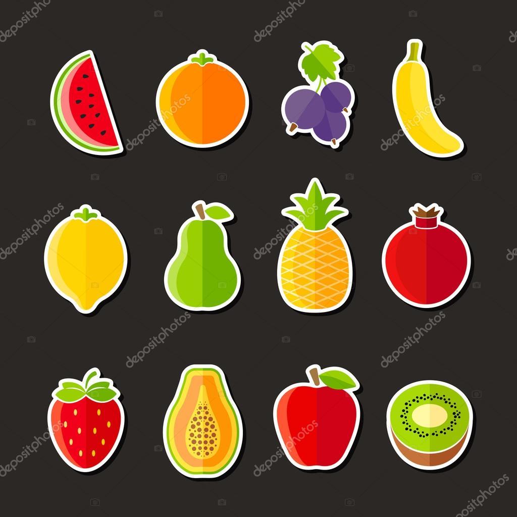 Organic fresh fruits and berries icons flat design