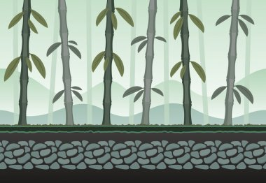 Seamless bamboo landscape for game background. It can be repeated or tiled without any visible seams stock vector