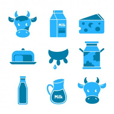 Dairy and milk flat icons set