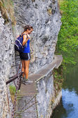 Photo Young woman on the trail, Slovak Paradise