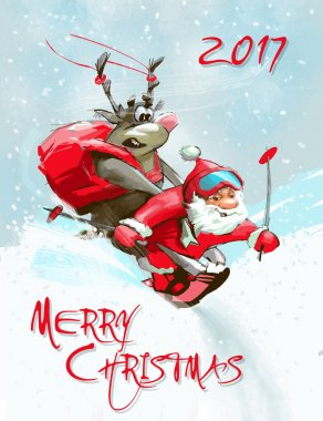 Merry Christmas card. Santa Claus and deer ski down.