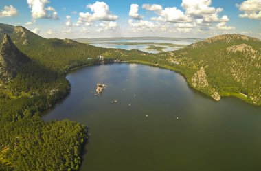 Aerial view of the a beautiful mountain lake Borovoe (Burabay), Kazakhstan