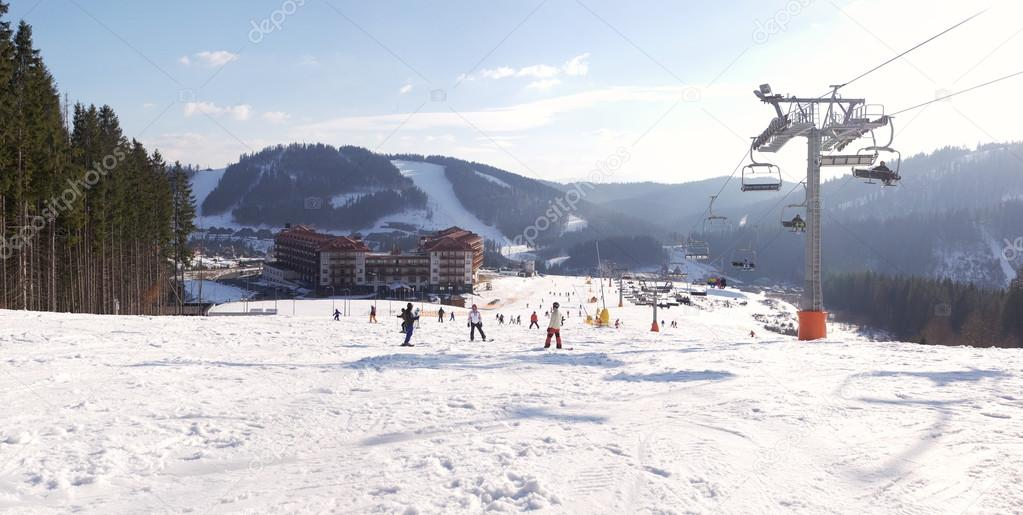 Panoramic view of the ski resort Bukovel