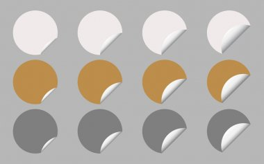 Vector Set of White, Gold and Silver Round Banner or Label with Curled Edge, Copy Space for Add Content and Text. icon