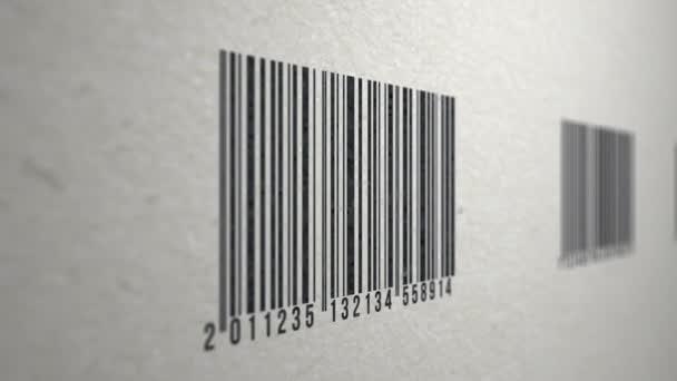 Animovaná ukázka čárové kódy na papír textury naskenované čtečkou čárového kódu