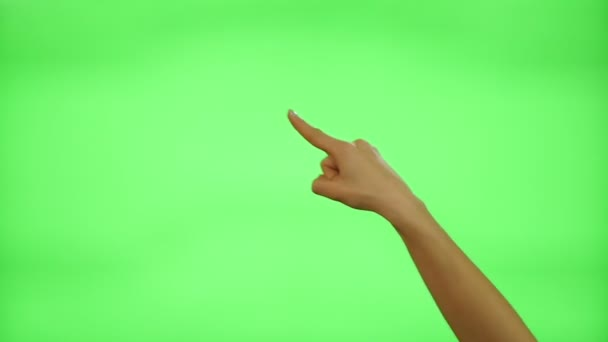Female hand gestures on green screen: clapping, thumbs up, pointing, countdown to five, ok, presenting