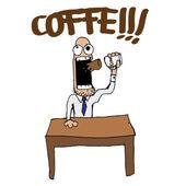 Vektorové Funny káva vztek karikatura člověka ilustrace