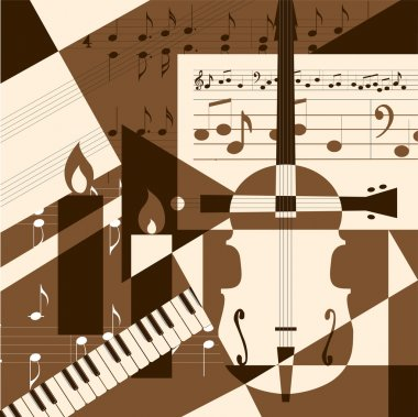 Collage with musical instruments